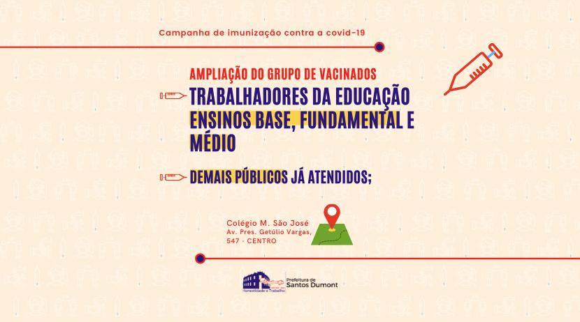 Vacinação contra a Covid-19 alcança trabalhadores da educação